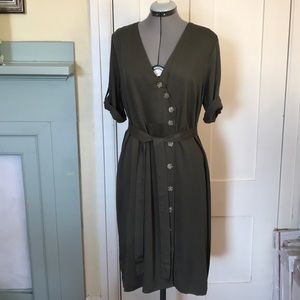 Rebellion - Olive Button Down Dress with Belt NWT